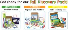 Green Kid Crafts' fall themes explore Weather Science, Legends and Folktales, and DIY Gift Making with fun, educational activities and experiments that align with national standards. http://www.greenkidcrafts.com/fall-discovery-pack/