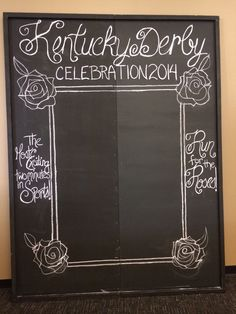 Chalkboard backdrop for pictures at the Derby Party