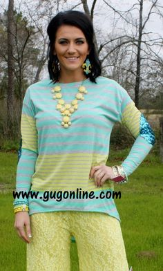 FLASH SALE Something About Sequins Yellow and Mint Striped Shirt with Sequin Elbow Patches $18.00 www.gugonline.com