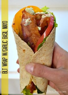 BLT Wrap with Heirloom Tomatoes and Garlic Basil Mayo