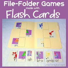 File Folder Games made with Flash Cards diy ideas, kid activities, file folder games, family fun games, kindergarten games, card games, learning activities, file folder activities, file folders