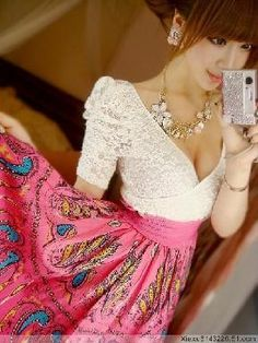 White Lace Pink Paisley Print Dress ~ Ship Incl