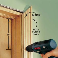interior trim work: case a door, case a window, install baseboard.