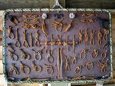 Knot board at the Campcraft Center and New Frontier Program on the White Trail at Camp #Yawgoog, Rockville, Hopkinton, Rhode Island (RI).  A 2014 image by David R. Brierley.