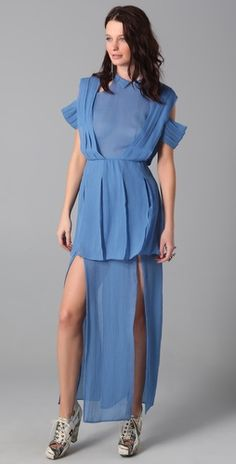 Rodarte for Opening Ceremony Tucked Collar Long Dress