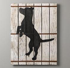 Wood-Plank Dog Silhouette Art.