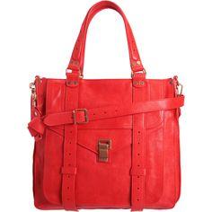 bright red handbag.