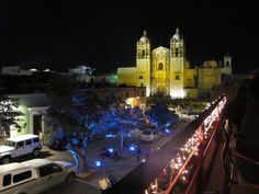 Oaxaca City and the Cathedral of Santo Domingo at night. Amazing colours - and food!