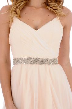 324- Cambria Beaded Sash- crystal sash, rhinestone sash, wedding sash, bridal belt. $198.00, via Etsy.