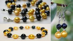 Freshwater Pearl Set in Black and Yellow for by SportyPearls, $37.00