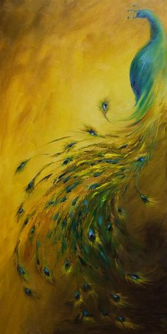 Show Off 1 Vertical Peacock, Dina Dargo- Beautiful! My favorite peacock painting!!!