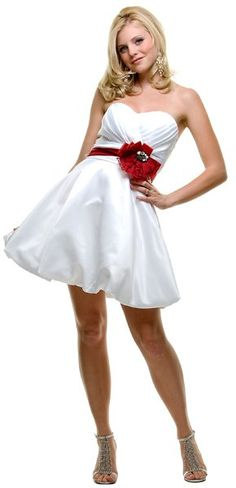 White/Red Prom Dress Short Strapless Above Knee Sweetheart Neck $119.99