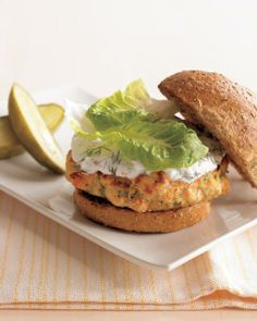 Salmon Burgers with Yogurt-Dill Sauce Recipe
