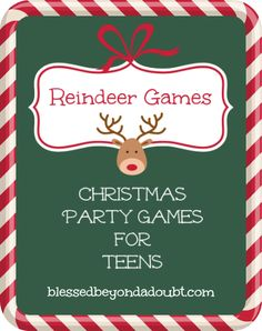 FREE Printable Christmas Party Games for Teens - would even be great at a grown-ups Christmas party...Reindeer Antlers Game