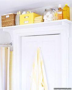 7. Put a book shelf above your door for extra storage. | 15 Lifehacks For Your Tiny Bathroom