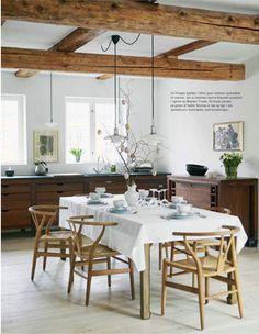 Danish modern in a rustic dining space