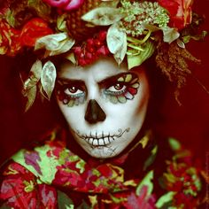 Day of the Dead. Costume. Flowers.