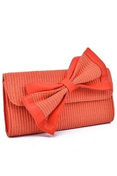 Tangerine Bow Clutch