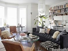 decor, living rooms, nate berkus, couch, white walls, hous, live room, leather chairs, home offices