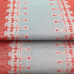 """Olsen"" Fabric in Mint - Red Tilton Fenwick for Duralee #TFDuralee"