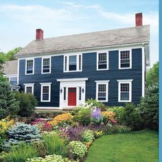 Wow, super pretty. But would it work with a white house, red door, red trim, and dark blue accent trim? The blue and white here is so beautiful and simple.