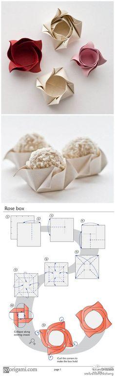 Caja origami con forma de rosa // Origami rose box