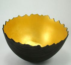 stunning handmade wood bowl with gold paint inside. by makye @Etsy!