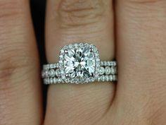engagement ring, wedding band, and eternity band