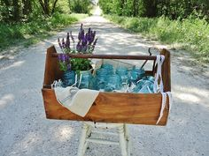 Old Wooden Tool Tote...not just for tools anymore! (Could make a cool window box or planter, too...)