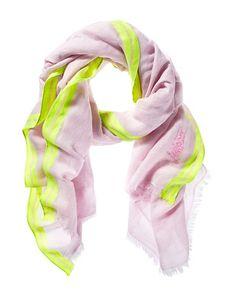 neon edge linen scarf in violet | juicy