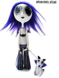 Halloween Doll  Button Eyed Doll  Goth Doll by MyriamPowellDesigns, $95.00