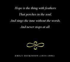 favorit poem, emily dickinson, word, poetri, emili dickinson, feathers, favorit poet, favorit quot, hope