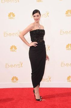 """Emmy Awards 2014: """"Mad Men's"""" Jessica Paré in a beaded black number, and a gorgeous Fred Leighton diamond necklace."""