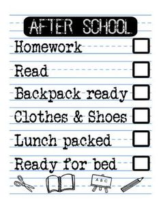 {FREE PRINTABLE} After School Checklist for Kids by My Paper Craze