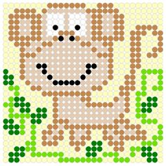 Cute Monkey Perler Bead Pattern