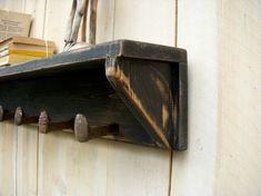 rustic shelf & railroad spike hooks