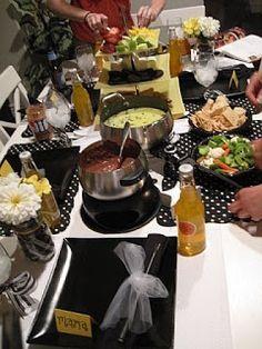 Fondue party table setting