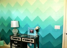 Ombre chevron wall SWEET! This is a bit of work... probably more inspiration although not much more difficult than regular Chevron wall stripes. Keep emerald green ombre.