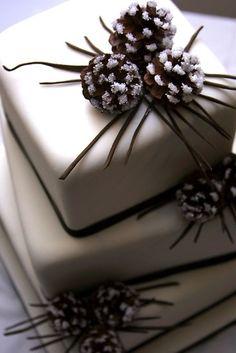Pinecone cake decorations #ido #inspiration #white #wedding
