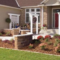 landscaping ideas, famili, arbor, front yards, curb appeal, hous, diy, entryway, inexpens landscap