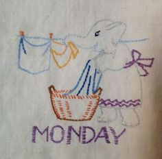 vintage embroidered kitchen towel! Elephant hanging laundry.