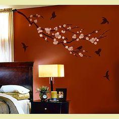 Cutting Edge Stencils - Sakura and Birds Wall Stencil - it was a hard decision!