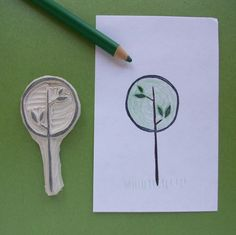 Modern Circle Tree - Hand Carved Rubber Stamp