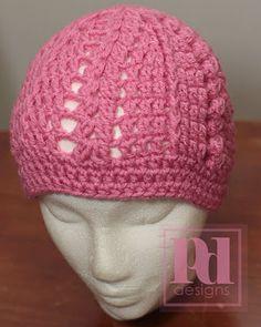 Free Crochet Trellis Beanie Pattern.