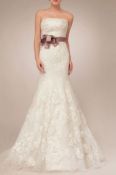 Lace trumpet wedding gown from Adorona. #bride #gown #dress #wedding http://www.adorona.com/strapless-trumpet-wedding-dress-w20307.html