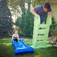 Nick Lachey and his precious tot Camden play on a disassembled Fisher Price slide!