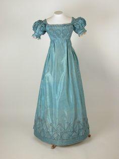 Evening Dress: ca. 1820-1825, lace, metal, silk.