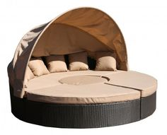 Outdoor day bed with half canopy, sectional, wicker