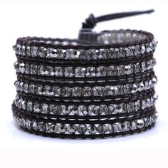 victoria emerson- leather bracelet - Crystal Satin