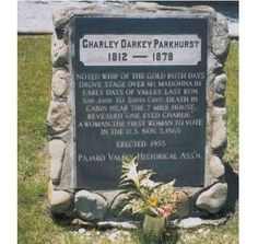 """Charlotte """"Charley"""" Darkey Pankhurst, one-eyed stagecoach driver & first woman to vote in the U.S. (though at the time -- and until her death -- she was passing as a man)"""